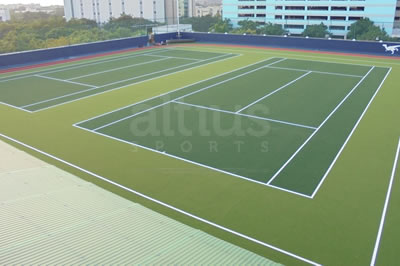 synthetic turfs in a tennis court